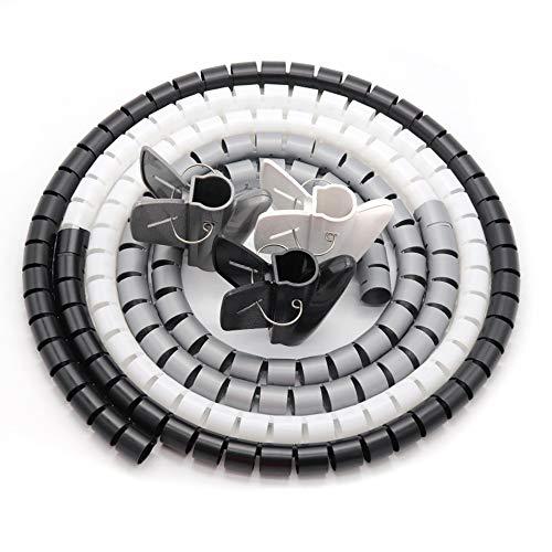 Kabelschlauch Kabelmanagement System Schwarz, Grau und Weiß(∅22mm,∅16mm) Frei Zuschneidba, Es Kann für den Kabelmantel von PC, Computer Fernseher Heimkino und HIFI-Systemkabel Verwendet Werden