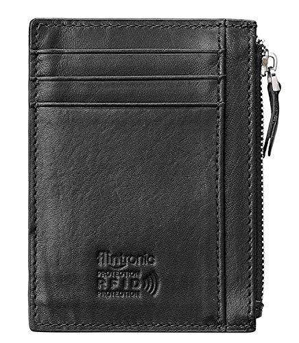 flintronic Portia Carte di Credito e Tasche Pelle, Ultrasottile 0.2cm RFID/NFC Blocco Portafoglo (Aggiorna la versione)(#9 nero con cerniera sottile 0.2cm)