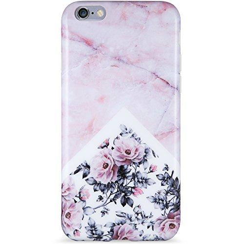 VIVIBIN iPhone 6 Case,iPhone 6s Case,Cute for Women Girls Clear Bumper Best Protective Soft Silicone Rubber Matte TPU Cover Slim Fit Best Phone Case for iPhone 6/iPhone 6s (Pink Marble Flower-138)