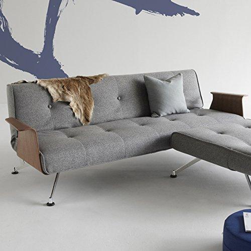 Innovazione - Divano letto con gambe cromate e braccioli, in tessuto grigio