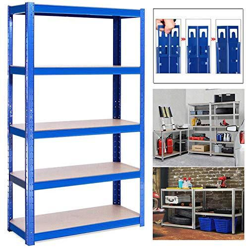 Shed Garage Shelving Unit for Storage, 180x90x40cm 5 Tier Storage Shelf Unit, Heavy Duty Metal Racking Workbench w/5 MDF Board, 875Kg Load Capacity(175Kg Per Shelf), Rubber Feet, Blue