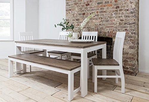 Hever Esstisch mit 5Stühlen und Bank in weiß und dunkelblau Kiefer Noa & Nani