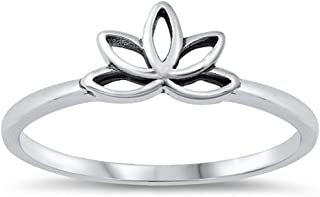 Traditional Open Lotus Ring New .925 Sterling Silver Band Sizes 4-12