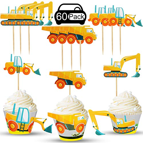 60 Pieces Construction Cupcake Wrappers Cake Toppers Truck Excavator Picks Decorations for Baby Shower Birthday Party Supplies