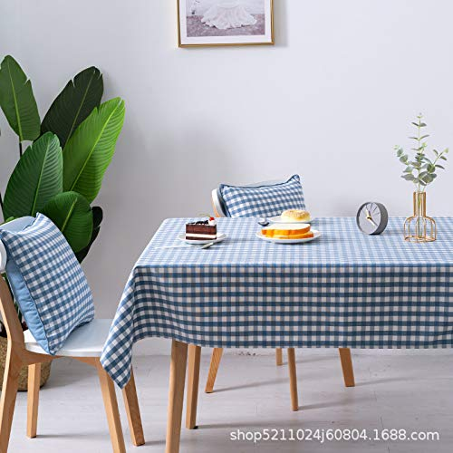 KAINUYA Simple Y Fresco Algodón Y Lino Mantel A Cuadros Mantel Mantel Tela Arte 120 * 120 Cuadrícula Azul