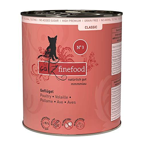 catz finefood N° 3 Geflügel Feinkost Katzenfutter nass, verfeinert mit Preiselbeeren & Löwenzahn, 6 x 800g Dosen