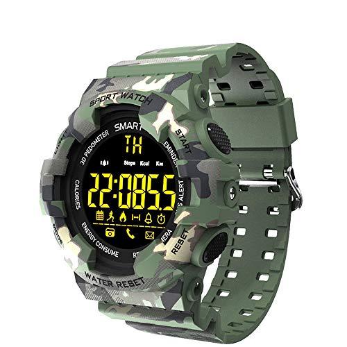 LCNINGZNSB BM18 Sports Smart Watch Camouflage Smart Orologio Sveglia cronometro Adatto per Outdoor Casual Fashion Bluetooth Smartwatch (Colore : Verde)