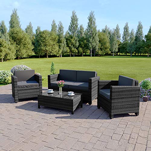 Abreo 4 Seater ROMA Rattan Garden Furniture Large Sofa Sets Chair Outdoor Indoor (4 Seater Sofa Set, Dark Mixed Grey With Dark Cushions)