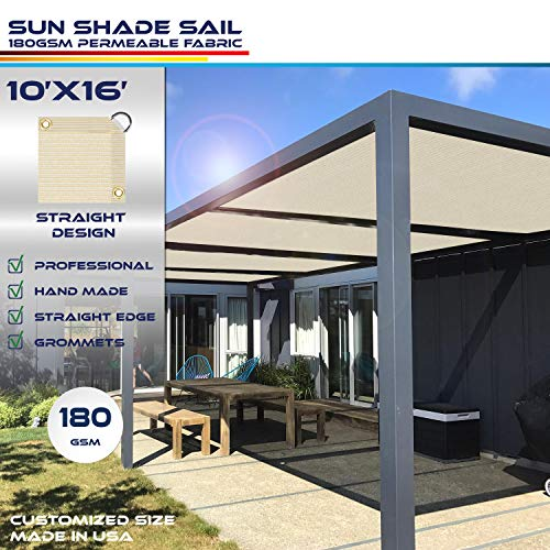 Windscreen4less Straight Edge Sun Shade Sail,Rectangle Outdoor Shade Cloth Pergola Cover UV Block Fabric 180GSM - Custom Size Beige 10' X 16'