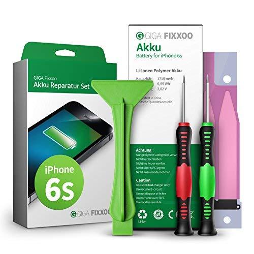 GIGA Fixxoo accu reparatieset compatibel met iPhone 6s | Eenvoudige vervanging met handleiding en gereedschap in de set bij defecte batterij, snelle vervanging