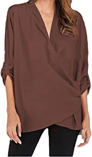 neveraway Womens V-Neck Blouse Solid Colored Chiffon Fashion Roll Sleeve T-Shirt