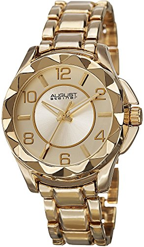 August Steiner Women's Pyramid Watch - Unique Pyramid Design Bezel, Arabic Numeral On Yellow Gold Stainless Steel Bracelet - AS8159