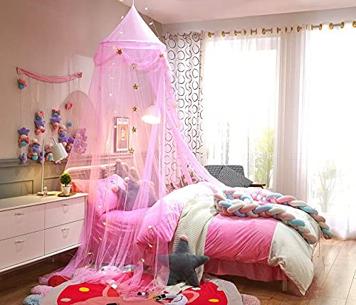 N G Pink satr Bed Canopy Curtain Princess Mosquito net for Girls Dome Bed Reading Bed Tent Playing for Children/Kids/Twin,Full Bed