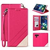 Beyond Cell Infolio Series Wallet Case   Compatible with LG V50 ThinQ  / [Wrist Strap] Invisible Magnet Synthetic Leather Wallet case- Hot Pink