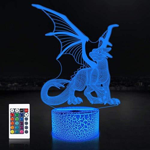 Luz de noche LED 3D para regalo largo, lámpara 3D, luz de noche para niños, niños y niñas, como en cumpleaños o días festivos