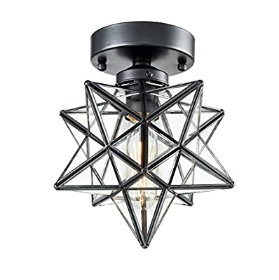 AXILAND Flush Mount Ceiling Light with Clear Glass Shade