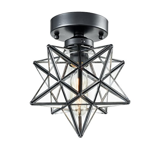 AXILAND Industrial Moravian Star Ceiling Light with 8-inch...