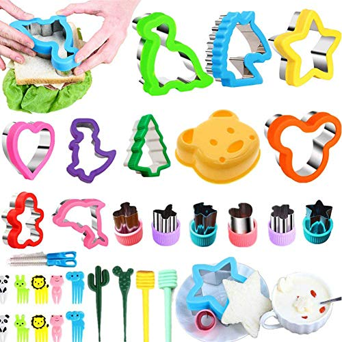 Nifogo Ausstechformen Sandwich Ausstecher - Cookie Cutters Set 32 PCS, Gemüse Obst Ausstecher Edelstahl, Micky Maus Dinosaurier Stern Herz für Kinder (32 Stück)