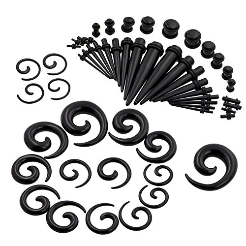 Oyaface 54PC Gauges Kit Ear Stretching 14G-00G Acrylic Spiral Tapers Plugs Boday Piercing Set Black