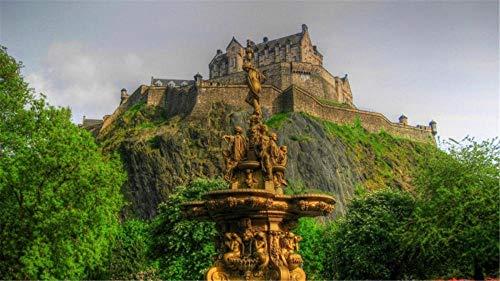 Puzzle 1000 Pezzi per Adulti Puzzle Fontana della Scozia del Castello di Edimburgo per Un Amico Regalo di Compleanno per Bambini
