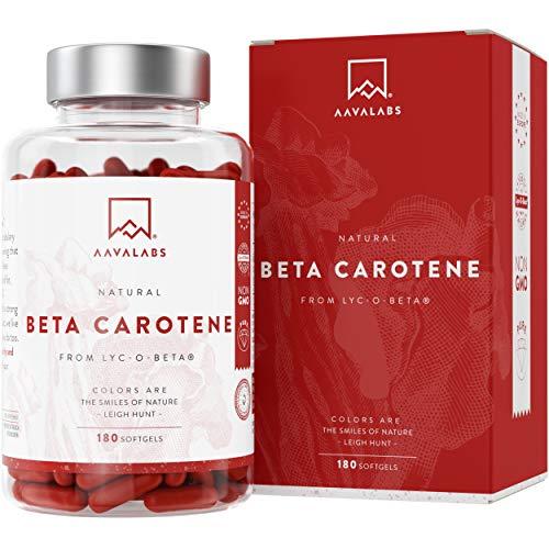 Betacaroteno [25.000 ui] 180 Cápsulas con Patentado Lyc-O-Beta - Con Aceite de Oliva Extra Virgen - Apoyo Natural Para el Bronceado, la Salud de los Ojos, la Piel, y el Sistema Inmunológico