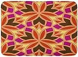 ECNM56B Alfombras de baño Alfombras de baño Alfombrilla para la Puerta Marroquí Floral Oriental Flores abstractas Trébol Hexagonal Muestra Vitral Vitrina 15.8'x23.6'