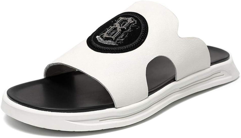 Flip-Flops Outdoor Sports Sandals White Slippers Men's Summer Fashion Wear Slip One-Piece Leather Outdoor Men's Sandals