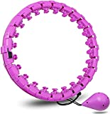 YOUYA Smart Hula Hoop for Adults and Kids exercising, 2 in 1 Abdomen Fitness Weight Loss Massage Non-Fall Hoola Hoop, 24 Detachable Knots Adjustable Weight Auto-Spinning Ball (Purple)