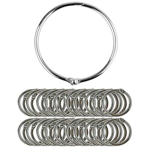 KISEER 50 Pack Loose Leaf Binder Rings, 1.5-Inch Nickel Plated Metal Book Rings, Keychain Key Rings for Office, School or Home