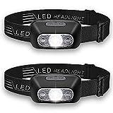 LED ヘッドライト 2パック ヘッドランプ 充電式 センサー機能付き 5つ点灯モード 【240ルーメン/点灯時間5-15時間/IPX6防水】夜釣り/キャンプ/ハイキング/防災/非常時用/作業用 14ヶ月保証(QWOO)