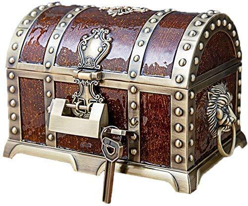 Joyería con Lock Portable Creative Jewelry Organizer Estilo Europeo Colección Pirata Retro para Anillos Collar Pendientes (Color: Vino Rojo) nyfcck (Color : Wine Red)
