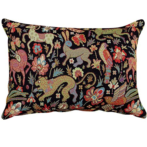 Linen Loft Mythical Animals Heavyweight Tapestry Filled Boudoir Cushion. 17'x12' Rectangle. Black background with multicoloured beasts. Morris style. (Synthetic filled)