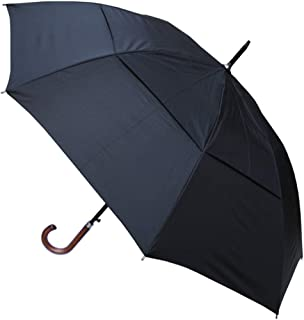 COLLAR AND CUFFS LONDON - Windproof Extra Strong - StormDefender City Umbrella - Vented Canopy - Highly Engineered to Combat Inversion Damage - Auto Open - Solid Wood Hook Handle - Black