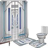 Juego de cortinas baño Accesorios baño alfombras Decoración del espacio exterior Alfombrilla baño Alfombra contorno Cubierta del inodoro Misión espacial robótica Vehículo Sistema solar Viaje al univer