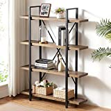 IBF Industrial Solid Wood Bookshelf, 4 Tier Tall Open Metal Bookcase, Rustic Farmhouse Storage Book Shelf, Vintage Antique Sturdy Real Natural Wood Etagere, Distressed Grey