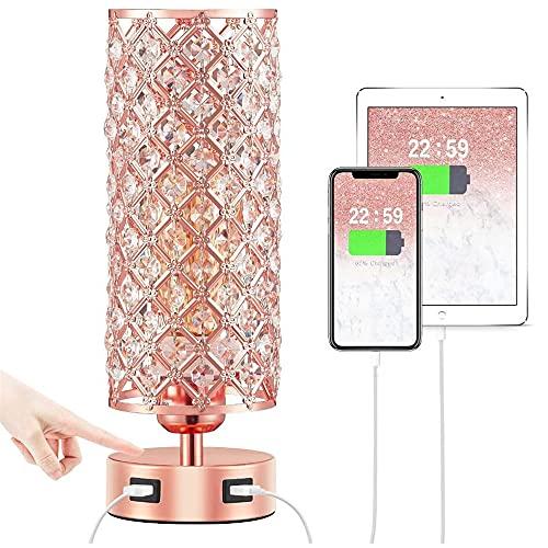 Lámpara moderna de escritorio de cristal con interruptor de puerto de carga dual USB, lámpara de cabecera de cristal, muy adecuada para dormitorio y sala de estar