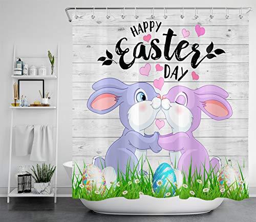 HVEST Happy Easter Duschvorhang Holzplanke Badezimmervorhang Lustiges Kaninchen & buntes Ei Badewannenvorhang Wasserfester Polyesterstoff mit 12 Haken, 178 x 180 cm
