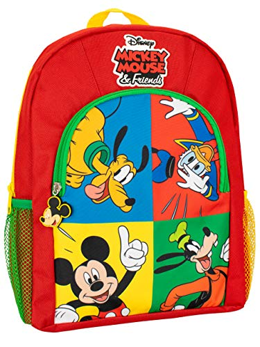 Disney Kids Backpack Mickey Mouse Pluto Donald Duck Goofy Red