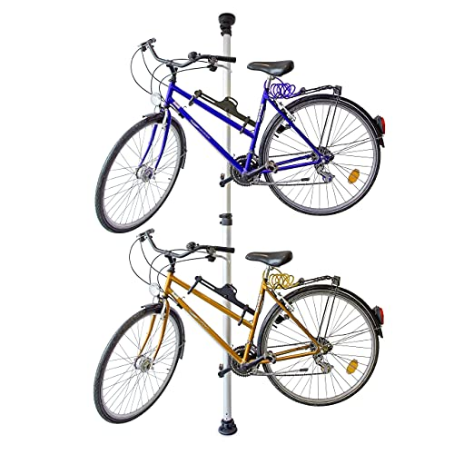 Relaxdays Porta Biciclette Telescopico, Garage e Cantina, per 2 Bici, Regolabile, 40 kg, Soffitto, Pavimento, Argentato Unisex Adulto, Argento, 160 x 340 cm