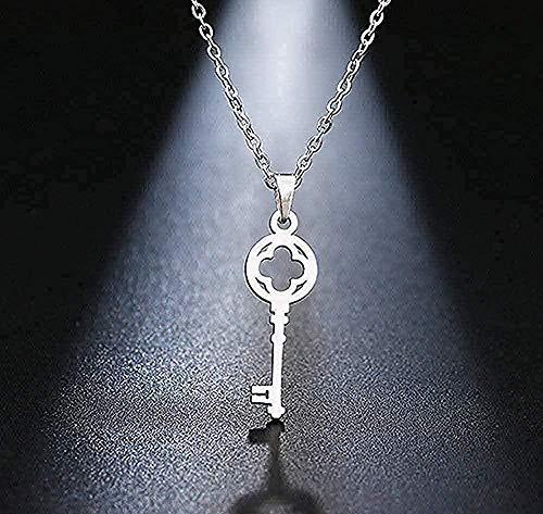Yiffshunl Collar Collar Collar de Acero Inoxidable Llavero Colgante Clavícula Collares Tarjeta Tamaño de la joyería 45cm
