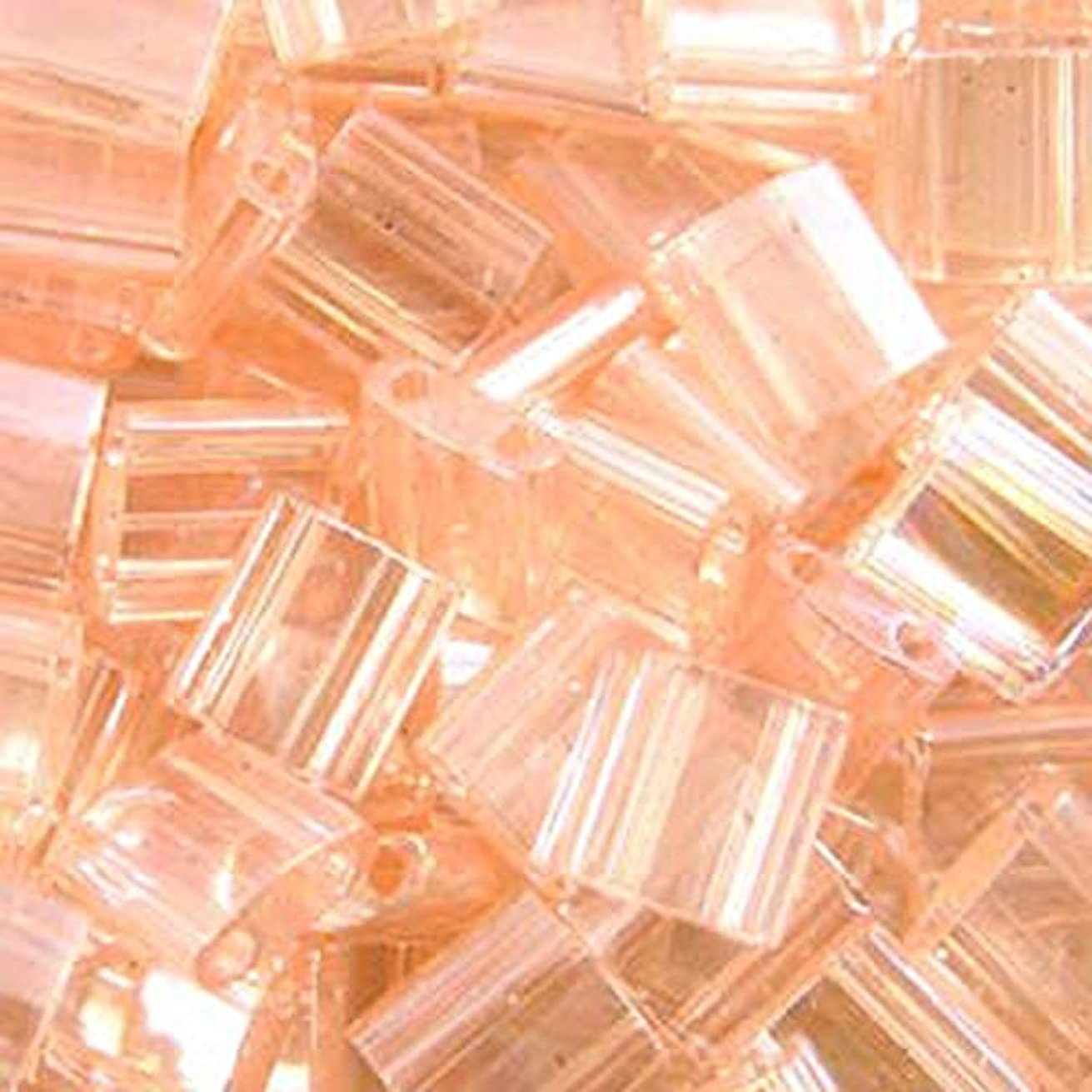 Light Rose Luster Tila Beads 7.2 Gram Tube By Miyuki Are a 2 Hole Flat Square Seed Bead 5x5mm 1.9mm Thick with .8mm Holes