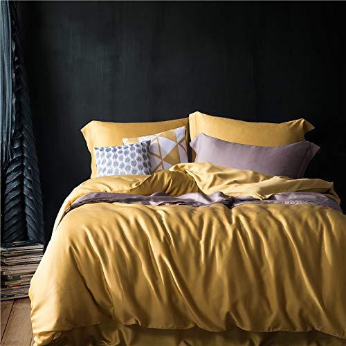 Yaonuli effen dekbedovertrek uit Tencel, eenkleurig, vier stuks, kleur: geel, 200 x 230 cm