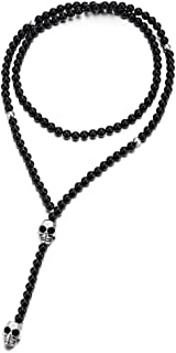Gothic Style Mens Womens Black Onyx Beads Y Chain Necklace with Stainless Steel Skull