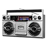 Best Bluetooth Boomboxes - Victrola VBB-10-SLV 1980's Bluetooth Boombox with Cassette Player Review