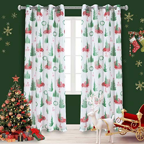 LORDTEX Christmas Sheer Curtains for Living Room and Bedroom - Textured Faux Linen White Sheer Curtains, Semi Voile Light Filtering Grommet Top Drapes, 52 x 95 Inches Long, Set of 2 Curtain Panels