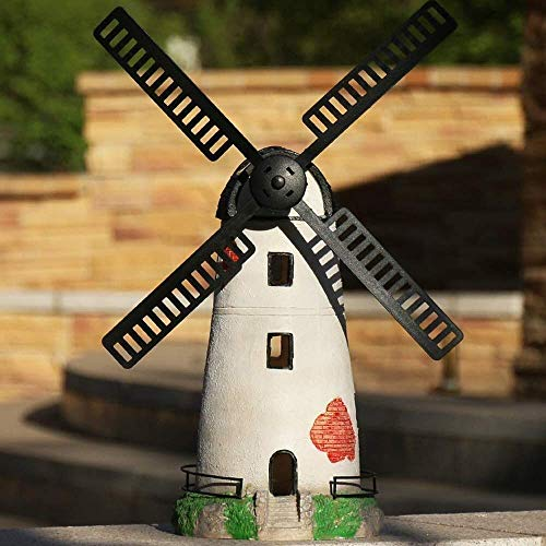 Ornaments Windmill Solar Lighthouse Craft Model Sculpture Waterproof Resin Garden Statue For Yard Lawn Decoration Gift