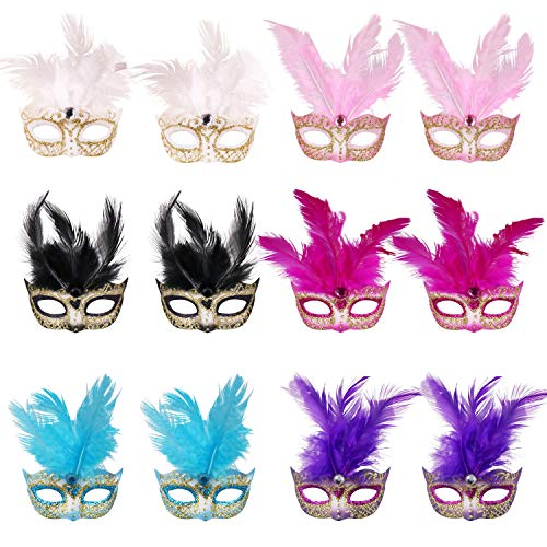 Masquerade Mask Party Decoration Mask - 12pcs Mardi Gras Small Mask Girl Favors Halloween Christmas Novelty Gifts(Feather Mini Masks Style 1)