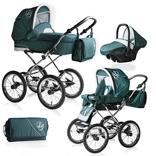 Bebebi Loving | 3 in 1 Kombi Kinderwagen Komplettset | Nostalgie Kinderwagen | Farbe: Green Ardent