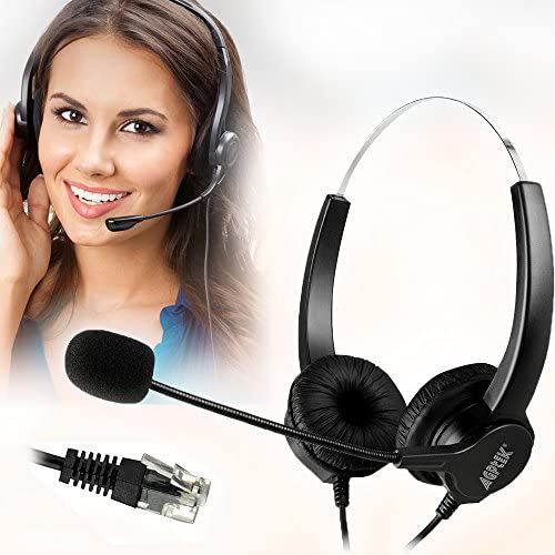AGPtEK Hands-Free Call Center Noise Cancelling Corded Binaural Headset Headphone with 4-Pin RJ9 Crystal Head and Mic Microphone for Desk Phone - Telephone Counselling Services, Insurance, Hospitals
