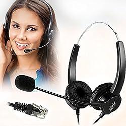 commercial AGPtEK Hands-Free Kit Call Center Binaural Noise Canceling Headphones, 4-Pin RJ9… desk phone headset